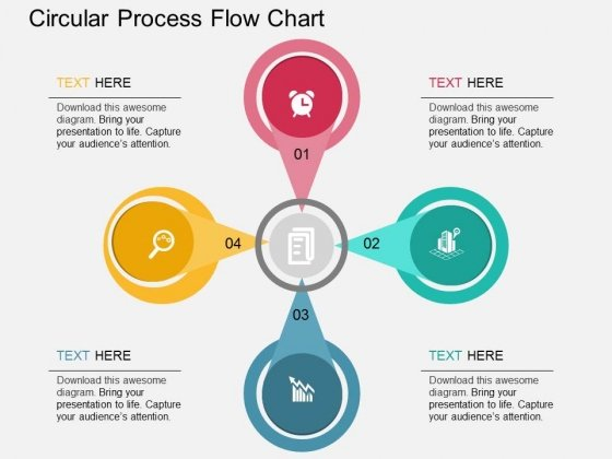 Four Staged Circular Process Flow Chart Powerpoint Template