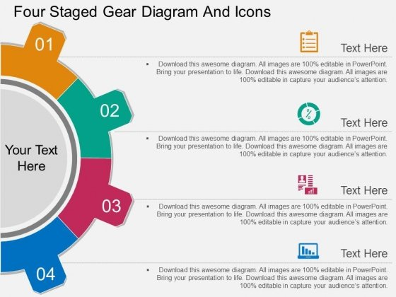 Four Staged Gear Diagram And Icons Powerpoint Template