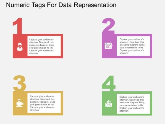 Four Staged Numeric Tags For Data Representation Powerpoint Template