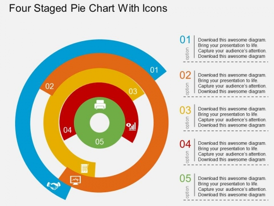 Four Staged Pie Chart With Icons Powerpoint Templates