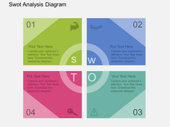 Four Staged Swot Analysis Diagram Powerpoint Template