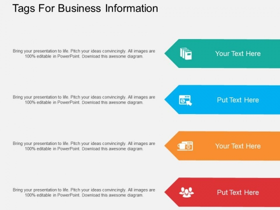 Four Staged Tags For Business Information Powerpoint Template