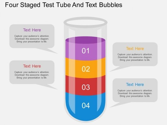 Four Staged Test Tube And Text Bubbles Powerpoint Template