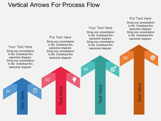 Four Staged Vertical Arrows For Process Flow Powerpoint Template