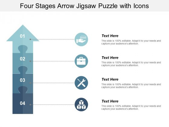 Four Stages Arrow Jigsaw Puzzle With Icons Ppt PowerPoint Presentation Ideas Sample