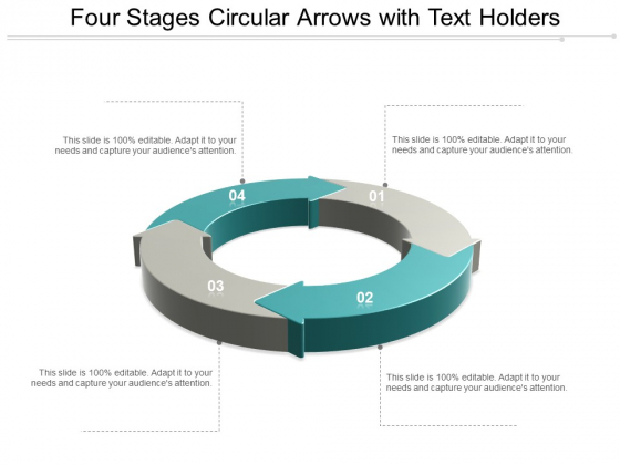 Four Stages Circular Arrows With Text Holders Ppt Powerpoint Presentation Layouts Clipart