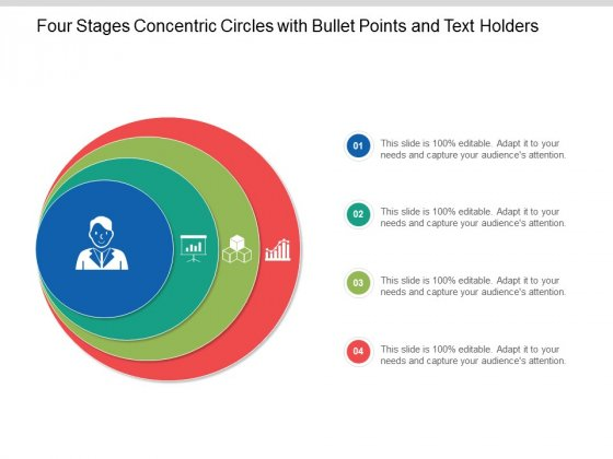 Four Stages Concentric Circles With Bullet Points And Text Holders Ppt Powerpoint Presentation Portfolio Information