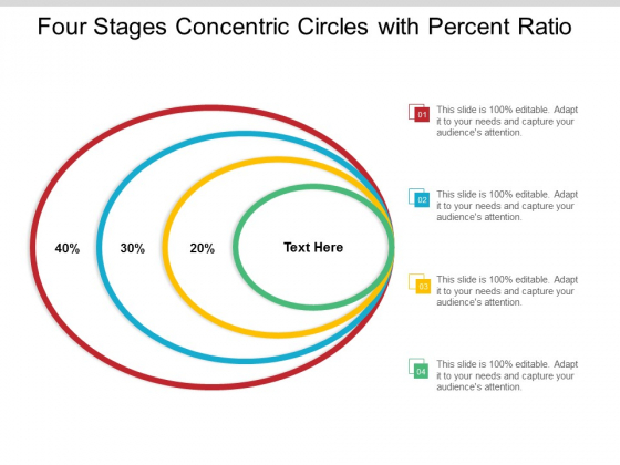 Four Stages Concentric Circles With Percent Ratio Ppt Powerpoint Presentation Model Microsoft