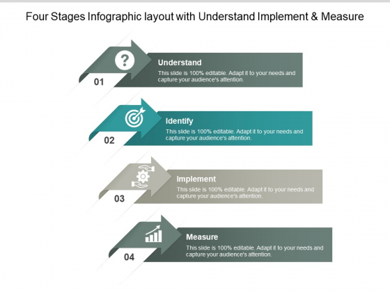 Four Stages Infographic Layout With Understand Implement And Measure Ppt PowerPoint Presentation Slides Deck