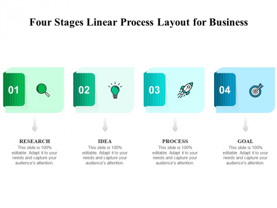 Four Stages Linear Process Layout For Business Ppt PowerPoint Presentation File Gridlines PDF