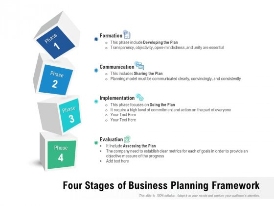 Four Stages Of Business Planning Framework Ppt PowerPoint Presentation File Introduction PDF
