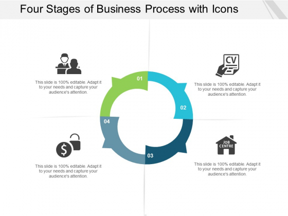 Four Stages Of Business Process With Icons Ppt Powerpoint Presentation Portfolio Backgrounds