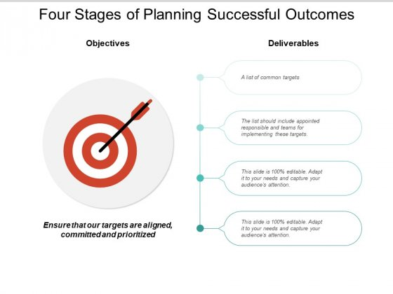 Four Stages Of Planning Successful Outcomes Ppt Powerpoint Presentation Visual Aids Diagrams