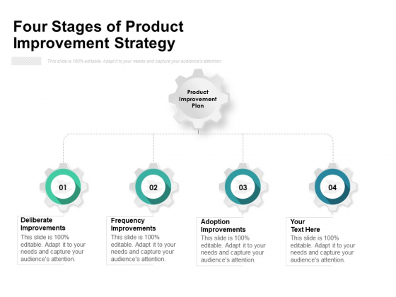 Four Stages Of Product Improvement Strategy Ppt PowerPoint Presentation Portfolio Design Templates PDF