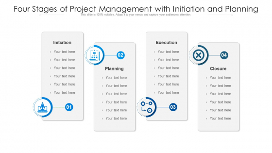 Four Stages Of Project Management With Initiation And Planning Ppt PowerPoint Presentation File Sample PDF