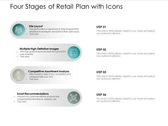 Four Stages Of Retail Plan With Icons Ppt PowerPoint Presentation Show Good