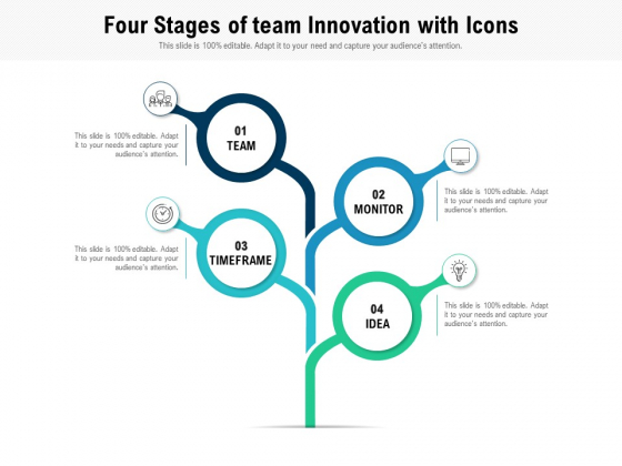 Four Stages Of Team Innovation With Icons Ppt PowerPoint Presentation Icon Example File PDF