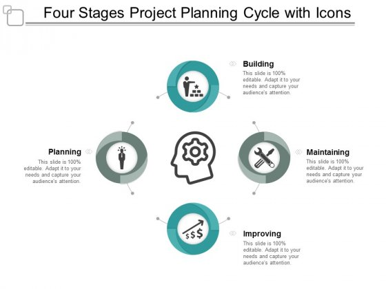 Four Stages Project Planning Cycle With Icons Ppt Powerpoint Presentation Layouts Graphics Template