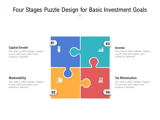 Four Stages Puzzle Design For Basic Investment Goals Ppt Powerpoint Presentation Outline Layout Pdf