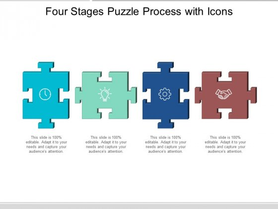 Four Stages Puzzle Process With Icons Ppt Powerpoint Presentation Infographics Images