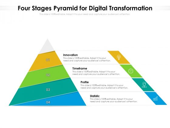 Four Stages Pyramid For Digital Transformation Ppt PowerPoint Presentation File Model PDF