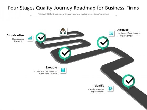 Four Stages Quality Journey Roadmap For Business Firms Ppt PowerPoint Presentation Icon Graphic Images PDF