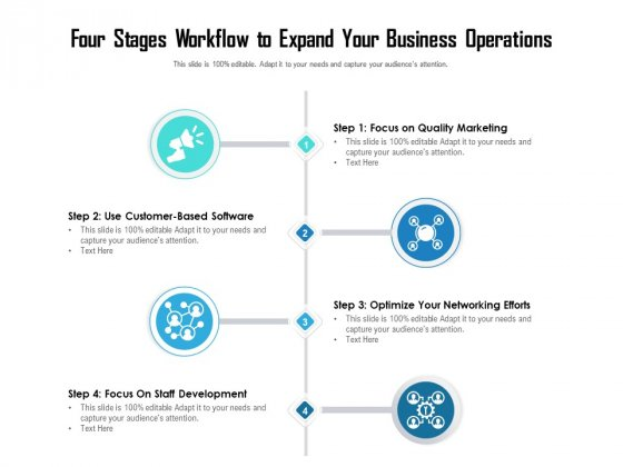 Four Stages Workflow To Expand Your Business Operations Ppt PowerPoint Presentation Gallery Vector PDF