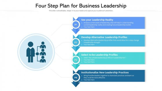 Four Step Plan For Business Leadership Ppt Powerpoint Presentation File Background Designs PDF