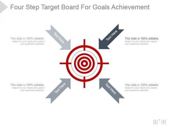 Four Step Target Board For Goals Achievement Ppt PowerPoint Presentation Slide