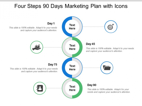Four Steps 90 Days Marketing Plan With Icons Ppt PowerPoint Presentation Icon Gallery