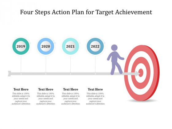 Four Steps Action Plan For Target Achievement Ppt PowerPoint Presentation Show Clipart