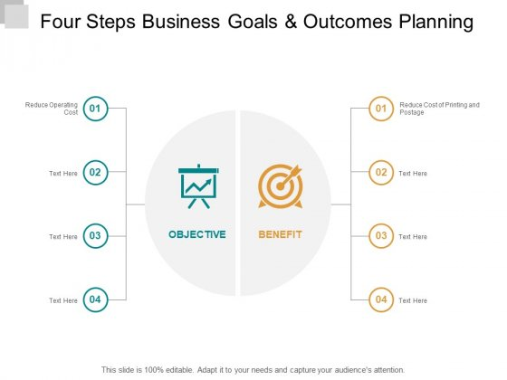 Four Steps Business Goals And Outcomes Planning Ppt PowerPoint Presentation Professional Demonstration