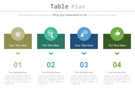 Four Steps Chart For Business Planning Powerpoint Slides
