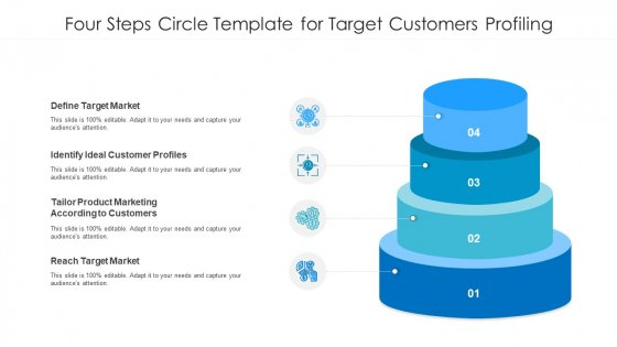 Four Steps Circle Template For Target Customers Profiling Ppt PowerPoint Presentation Gallery Slide PDF