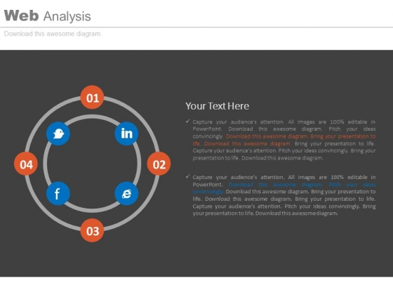 Four Steps Circle With Social Media Icons Powerpoint Slides