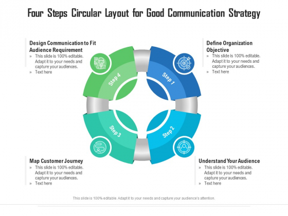 Four Steps Circular Layout For Good Communication Strategy Ppt PowerPoint Presentation File Show PDF