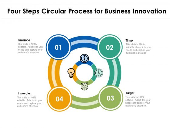Four Steps Circular Process For Business Innovation Ppt PowerPoint Presentation File Backgrounds PDF