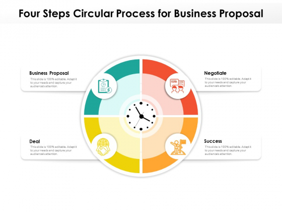 Four Steps Circular Process For Business Proposal Ppt PowerPoint Presentation File Background Images PDF