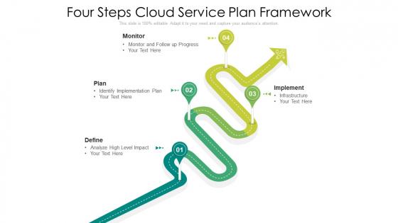 Four Steps Cloud Service Plan Framework Ppt PowerPoint Presentation File Infographics PDF