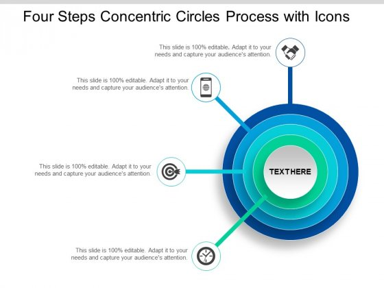 Four Steps Concentric Circles Process With Icons Ppt Powerpoint Presentation Styles Clipart Images