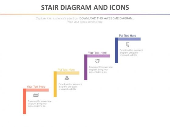 Four Steps Diagram For Competitive Advantage Strategy Powerpoint Template