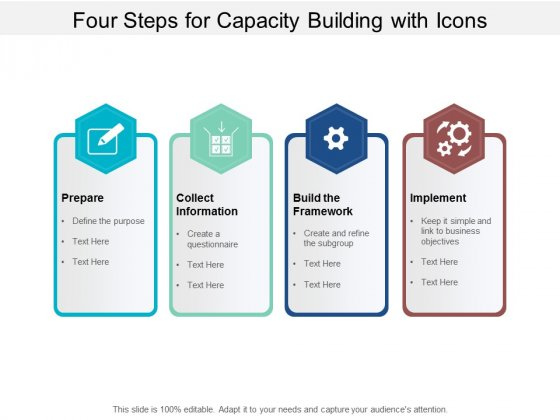 Four Steps For Capacity Building With Icons Ppt PowerPoint Presentation Styles Layouts