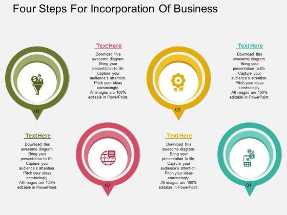 Four Steps For Incorporation Of Business Powerpoint Template