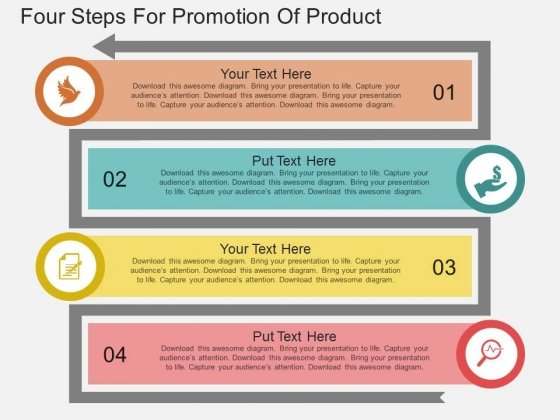 Four Steps For Promotion Of Product Powerpoint Template