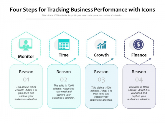 Four Steps For Tracking Business Performance With Icons Ppt PowerPoint Presentation File Styles PDF