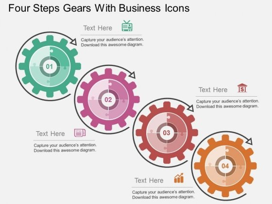 Four Steps Gears With Business Icons Powerpoint Templates
