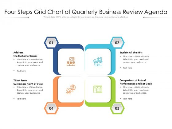 Four Steps Grid Chart Of Quarterly Business Review Agenda Ppt PowerPoint Presentation File Brochure PDF