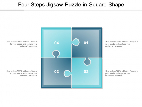 Four Steps Jigsaw Puzzle In Square Shape Ppt Powerpoint Presentation Show Visual Aids