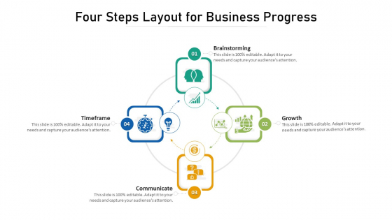 Four Steps Layout For Business Progress Ppt PowerPoint Presentation Styles Designs Download PDF