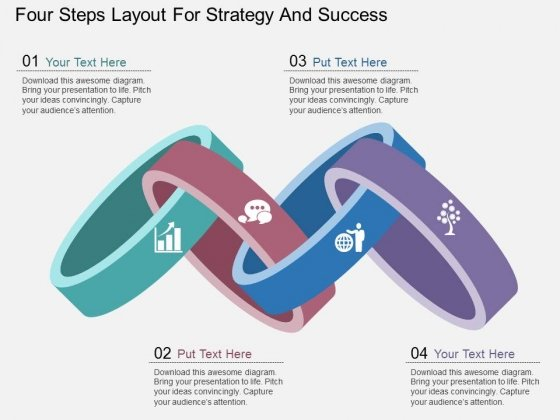 Four Steps Layout For Strategy And Success Powerpoint Template
